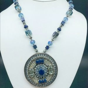 Chico's Blue Rhinestone crystal Silver Necklace
